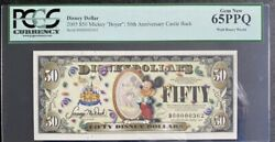 2005 Boyer Disney 50th Anniversary Series Pcgs 65ppq 50 Mickey Mouse Note