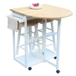 Semicircle/square Folding Dining Cart Rolling Kitchen Trolley Table Set W/drawer