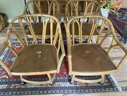 Ficks Reed Chairs Boho Bamboo Leather Wrapped Swivel Rolling Rocking /can Ship
