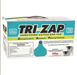Tri-zap Insecticide Fly Cattle Ear Tags 100 Count No Withdrawl