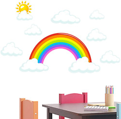 Rainbow and Clouds Wall Decals Peel and Stick Removable Wall Stickers for Kids