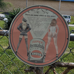 Vintage 1958 Amoco Super Permalube Motor Oil Can Porcelain Gas And Oil Sign