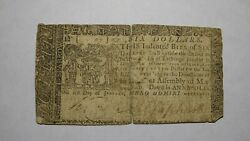 6 1767 Annapolis Maryland Md Colonial Currency Bank Note Bill Six Dollars Rare