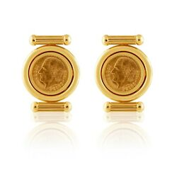 Custom-made Yellow Gold Earrings With 1/10thoz 24k Gold Mexican Coins2.5 Pesos