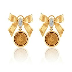 Custom-made White And Yellow Gold Earrings With 24k Gold Mexican Coins2.5pesos