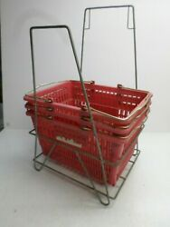 Vintage Shopping Basket Wire Floor Display/holding Stand W/ 3 Osco Baskets