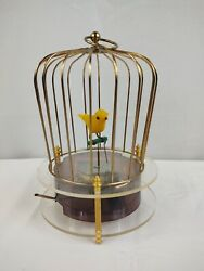 Vintage Japan Wind-up Singing Yellow Bird In A Cage Music Box Tokyo Pigeon