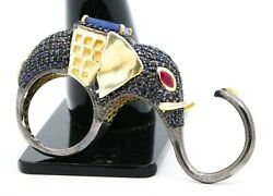 Elephant Blue Sapphire And Ruby Ring 925 Sterling Silver Ring Gemstone Women Ring