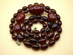 Old Real Antique Rare German Bakelite Amber Necklace Rosary Prayer Beads 63 Gr.