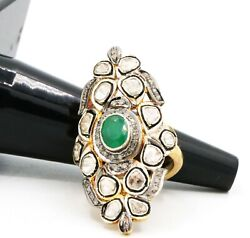 Emerald And Polki Diamond Ring 925 Sterling Silver Ring Victorian Ring For Womenand039s
