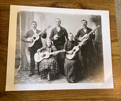 Old family photo People playing guitars quot; jam nightquot; amp; full size negative 8x10