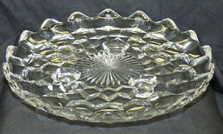 Vintage Fostoria American 7.75 Round 3 Footed Glass Tray Cake Cookie Plate Dish