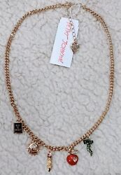 Betsey Johnson Back To School Gold Tone Necklace With Sun Book Apple Worm Charms