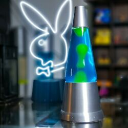 Blip Lava Lamp - 20oz Gold Cap - Rare Made In The Us - Blue Fluid / Yellow Wax