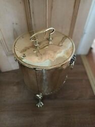Antique Brass Coal Bucket On 3 Claw Feet And Lion Head Handles