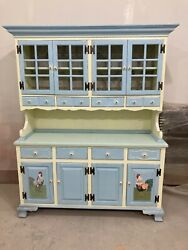 Antique Ethan Allen Hutch Repurposed In French Country, Hand Painted
