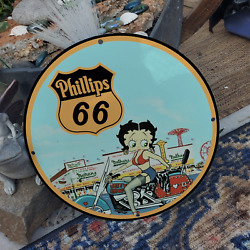 Vintage Phillips 66 Motor Engine Fuel ''betty Boop'' Porcelain Gas And Oil Sign
