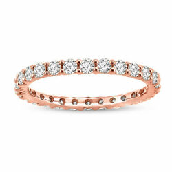 14k Rose Gold Round U-shaped Eternity Band Ring With 2.00 Ctw Natural Diamond