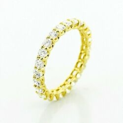 14k Yellow Gold Round U-shaped Eternity Band Ring With 2.00ctw Natural Diamond
