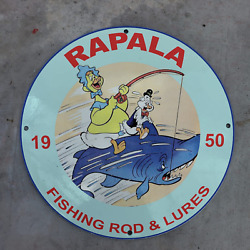 Vintage 1950 Rapala Fishing Products Rod And Lures Porcelain Gas And Oil Pump Sign