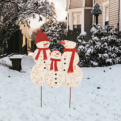 Glitzhome Iron Snowman Family Wall Hanging Sign Stand Decor Christmas Yard Stake