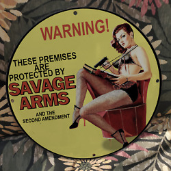 Vintage Savage Arms American Gunmaker Firearms Company Porcelain Gas And Oil Sign