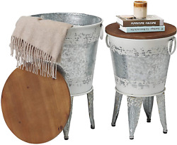 Rustic Storage Farmhouse Accent Side Table, Antique Galvanized Metal End Coffee