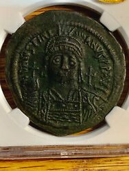 Justinian I 527, 565 Ad Ae Large Modular Follis Certified Almost Uncirculated