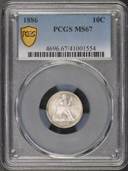 1886 10c Liberty Seated Dime Pcgs Ms67 Cac