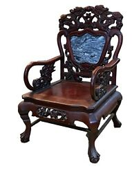 Antique Chinese Peranakan Dragons Rosewood Arm Chair With Marble Insert