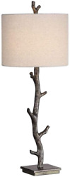 Spinner Tree Branch Table Lamp With Dark Bronze Finish And Off White Linen Shade