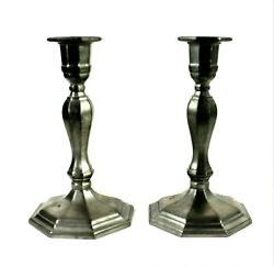 GORHAM PEWTER CANDLESTICK Set Of Two Heavy Retro Candle Holders 7 Inch Tall