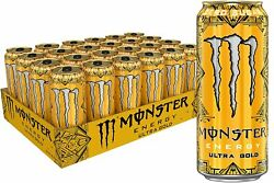 Monster Energy Drink Ultra Gold Zero Sugar 24 Pack Box 16oz Each Can New In Hand