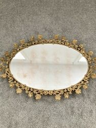 """Gorgeous Large Antique French Bronze Mirror Serving Centerpiece Vanity Tray 25"""""""