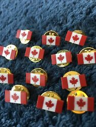 Canadian Flag Lapel Pin Lot Of 13 Small Hat Tie Pins