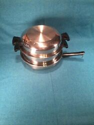 Vintage Amway Queen Usa Made Quality 18/8 Ss Skillet Steamer Egg Poacher Lid