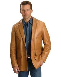 Scully Whipstitch Lambskin Leather Blazer - Big And Tall Tan 50 Reg