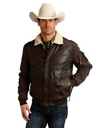 Stetson Menand039s Dark Novelty Solid Leather Canvas Sleeve Jacket - 11-097-0539-6620