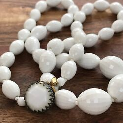 Vintage Necklace White Faceted Plastic Beads Hidden Clasp Ormalu