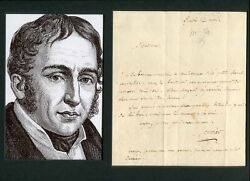 Hellenist Paul Louis Courier Autograph Letter Signed And Mounted