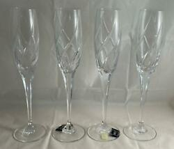 Set Of 4 Mikasa Crystal Olympus Fluted Champagne Glasses Discontinued