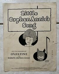 Little Orphan Annie Song Book Radio Show Ovaltine Perfect To Go With Decoder