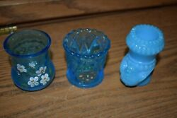 Vintage Lot Of 3 Blue Toothpick Holders Bird And Hand Painted Flowers