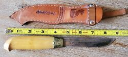 Vintage Finnish Finland Puukko Knife And Leather Sheath Free Shipping In The Usa