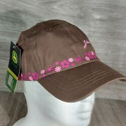 John Deere Brown W/ Pink Gems And Embroidered Flowers Womens Adjustable Cap Hat