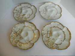 Antique Set Of 4 Limoges Oyster Plate Limoges White And Gold C1891