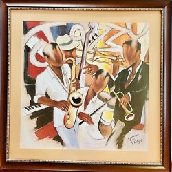 """Pierre Farel """"jazzy Music"""" Limited Edition Hand Embellished Signed/framed Art"""