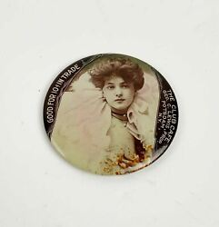 Antique Good For Trade 10c Risque Woman Pocket Mirror Advertising The Club Cafe
