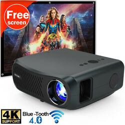 Native 1080p Wifi Projector 4k Zoom Video Home Cinema Android With 120in Screen
