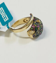 Effy 14k Yellow Gold Multi Sapphire Diamond Panther Ring Size 7 New Tag 6050